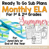 1st & 2nd Grade Summer Review Sub Plans or Activities for ELA. June July August.