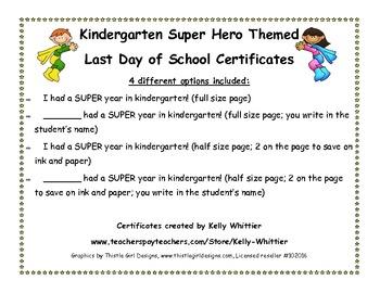Kindergarten - Super End of School Year Super Hero Certificates