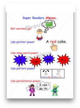 Kindergarten Super Readers Student Strategy Chart