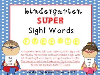 Kindergarten Super Sight Words