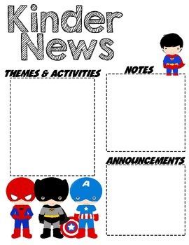 Kindergarten Superhero - Editable Word Newsletter