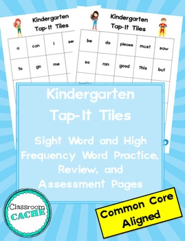 Kindergarten Superhero Tap-It Tiles: Sight Word and High Frequency Word Charts