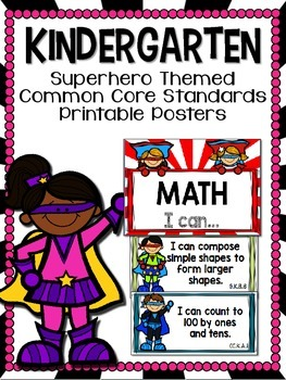 Kindergarten Superhero-Themed Common Core Standard Printab