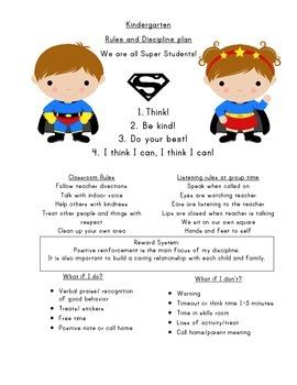 Kindergarten Superhero discipline and behavior plan