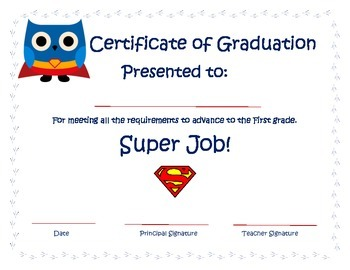 Kindergarten Superman Owl Certificate