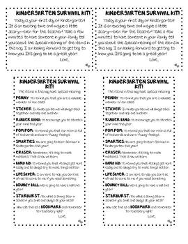 Kindergarten Survival Kit Poem and Gift Tag