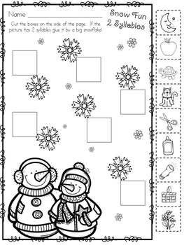 Kindergarten Syllables, Sight Words and Snow!  Freebie!