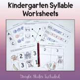 Kindergarten Syllables Worksheets