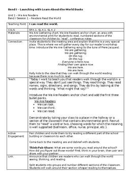 Kindergarten TC Reading Unit 1 - We Are Readers Lesson Plans Bundle