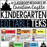 Editable Kindergarten TEKS - Standards Statements with Vis