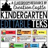 Editable Kindergarten TEKS - Standards Statements with Vis