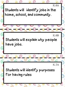 Kindergarten TEKS ALL Learning Objective Cards Small Posters