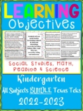 Kindergarten TEKS ALL Learning Objective Cards Posters/ 4 Subjects/ Color