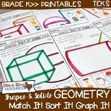 Kindergarten TEKS Geometry Printables: Match, Sort & Graph 2-D Shapes/3-D Solids
