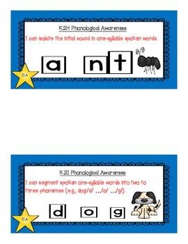 "Kindergarten TEKS ""I Can"" Cards-ELA, Math (New Standards), SS, and Science"