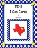 """Kindergarten TEKS """"I Can"""" Cards-ELA, Math (New Standards),"""