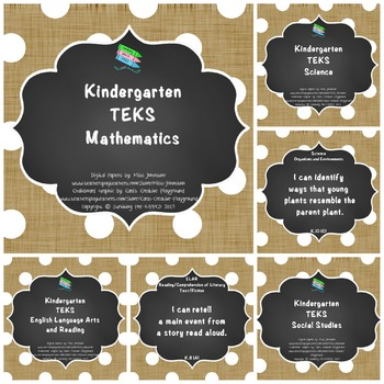 "Kindergarten TEKS ""I Can"" Statements Bundle: Burlap, Chalk"