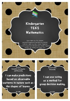 "Kindergarten TEKS ""I Can"" Statements Bundle: Burlap, Chalkboard & Polka Dots"