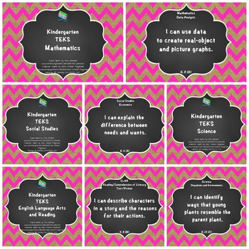 "Kindergarten TEKS ""I Can"" Statements Bundle: Burlap, Chalkboard & Pink Chevron"