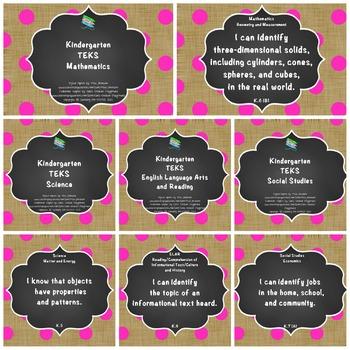 """Kindergarten TEKS """"I Can"""" Statements Bundle: Burlap, Chalkboard & Pink Dots"""