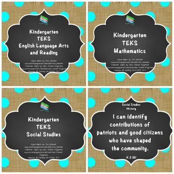 "Kindergarten TEKS ""I Can"" Statements Bundle: Burlap, Chalkboard & Turquoise Dots"