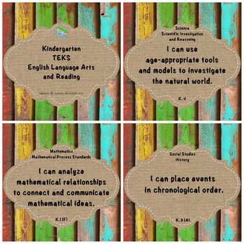 "Kindergarten TEKS ""I Can"" Statements Upcycled Bright Wood & Burlap"