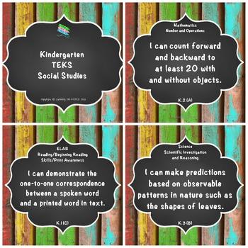 "Kindergarten TEKS ""I Can"" Statements Upcycled Bright Wood & Chalkboard"