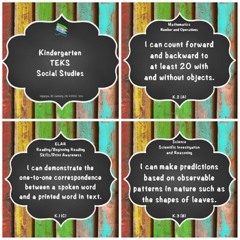 "Kindergarten TEKS ""I Can"" Statements Upcycled Bright Wood"