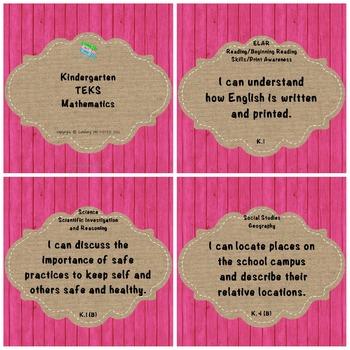 "Kindergarten TEKS ""I Can"" Statements: Upcycled Pink Wood & Burlap"