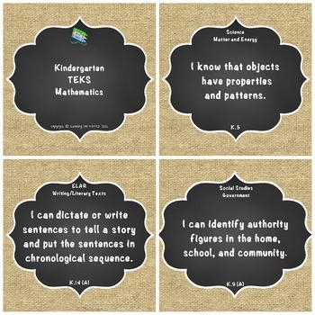 "Kindergarten TEKS ""I Can"" Statements: Upcycled Shabby Chic Burlap & Chalkboard"
