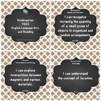 "Kindergarten TEKS ""I Can"" Statements: Upcycled & Shabby Kraft Paper & Chalkboard"