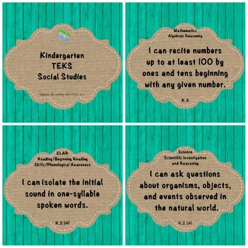 "Kindergarten TEKS ""I Can"" Statements: Upcycled Turquoise Wood & Burlap"
