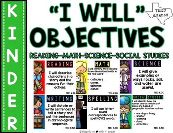 "Kindergarten TEKS: ""I Will"" Objectives {Print & Go-or-Editable}"
