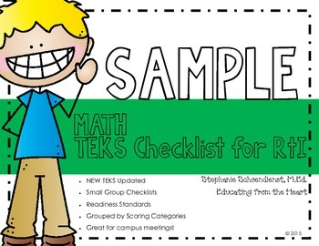 Kindergarten Math TEKS RtI Checklist SAMPLE