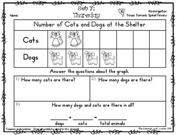 Kindergarten NEW TEKS TX Tornado Spiral Review Part 1: Sets 1-12 POD & Calendar