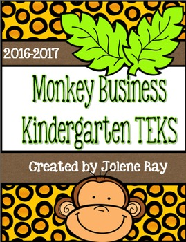 "Kindergarten TEKS ""I can"" Statement Poster Bundle: Monkey"