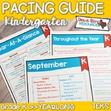 Kindergarten TEKS Year Planner-Back to School-Texas Curriculum Pacing Guide