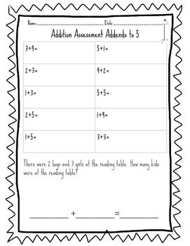 Kindergarten/TK Addition Assessments