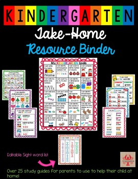 Kindergarten Take-Home Study Guide and Resource Binder for parents