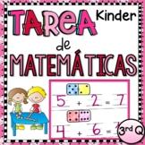 Kindergarten Tarea de Matemáticas en Español - 4th Quarter