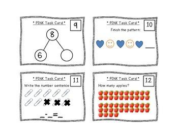 Kindergarten Task Cards - Pink Set