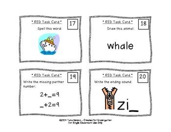 Kindergarten Task Cards - Red Set