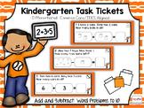 Kindergarten Task Tickets: Math: Add & Sub Word Problems t