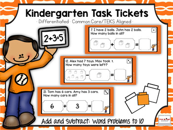 Kindergarten Task Tickets: Math: Add & Sub Word Problems t