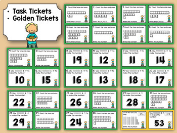 Kindergarten Task Tickets: Math: Base Ten Place Value (Differentiated)