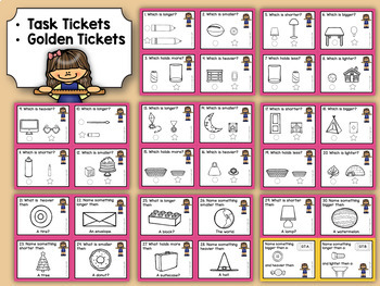 Kindergarten Task Tickets: Math:Comparing Measurable Attributes (Differentiated)