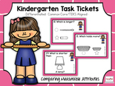 Kindergarten Task Tickets: Math:Comparing Measurable Attri