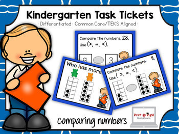 Kindergarten Task Tickets: Math: Comparing Numbers (Differ