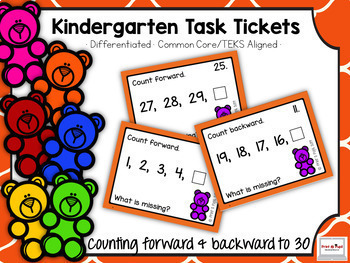 Kindergarten Task Tickets: Math: Counting Forward and Backward (Differentiated)