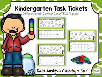 Kindergarten Task Tickets: Math: Data: Classify & Count (Differentiated)
